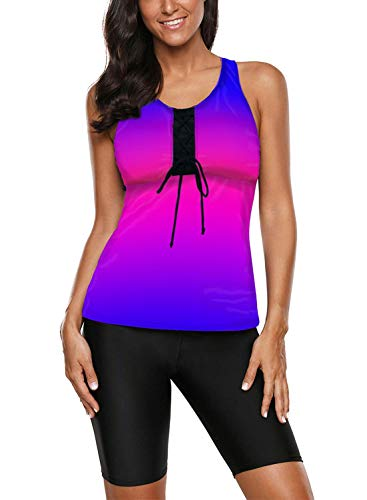 Aleumdr Women's Sleeveless Top and Cropped Pants Color Block Two Piece Unitard Tankini Swimsuit Blue Purple X-Large 14 16
