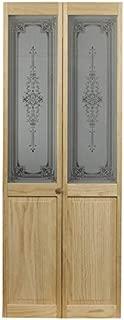 Pinecroft 830730 Burgundy Half Glass Interior Bifold Wood Door, 36