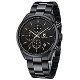 Cheetah, orologio da uomo alla moda in acciaio inox, cronografo, analogico, al quarzo, impermeabile, con data, colore: nero oro rosa