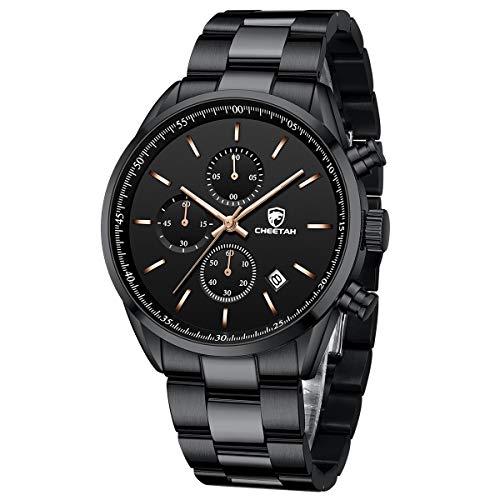 CHEETAH Reloj de pulsera para hombre de acero inoxidable con cronógrafo analógico de cuarzo resistente al agua con fecha (oro rosa negro)