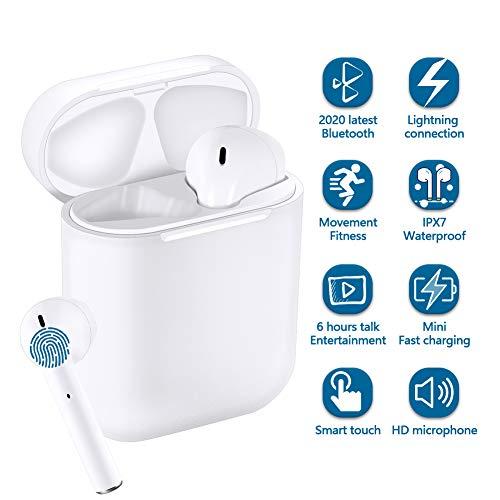 TWS Auriculares inalámbricos Bluetooth Touch, Auriculares estéreo 3D con reducción de Ruido, Auriculares Deportivos Impermeables con Estuche de Carga portátil, Compatible con Apple/Android/Samsung