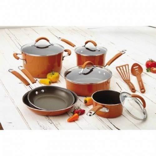 Rachael Ray(r) Cucina Hard Porcelain Enamel Nonstick Cookware Set, 12-Piece (Pumpkin Orange)