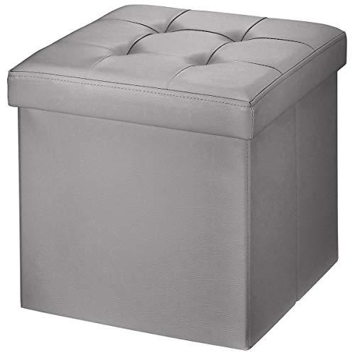 BRIAN & DANY Sitzhocker faltbar Sitzbank Kunstleder Aufbewahrungsbox mit Stauraum, Grau, 38 x 38 x 38cm