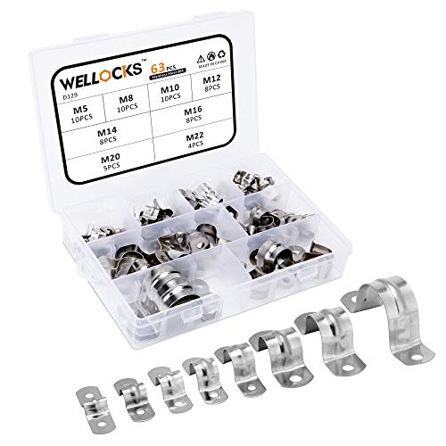 WELLOCKS Abrazadera para tubería 63 PCS M5-M22 Kit de soporte en U...