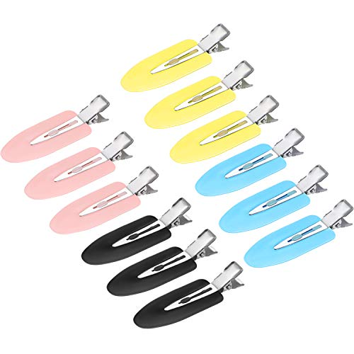 12 Pieces No Bend Curl Clips Hair Clips Pin for Hairstyle Bangs Waves Makeup Application Pink Blue Yellow Black