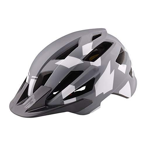 QIUBD Casco Da Bicicletta, Casco Da Bici Da Montagna Regolabile Certificato CE Per Uomo Donna Casco Da Bici Super Leggero Casco Da Bici Per Adulti Con Visiera Staccabile (Camouflage Grey)