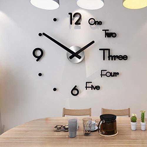 aifengxiandonglingbaihuo 2020 Nieuwe Klok Horloge Wandklokken 3d Diy Spiegel Stickers Huisdecoratie Woonkamer Quartz Naald, Zwart, Spanje