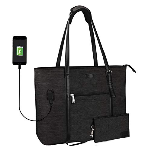 TANTO USB Laptop Tote Bag,Large Woman Work Bag Purse Teacher Bag Fits 15 Inch Laptop (Pro-Dark Gray)