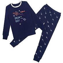 TaiMoon Niños Pijama, Ropa de Dormir Invierno Algodón Manga Larga Conjunto de Pijama Edades 6-14 años (Azul Marino, 8-9 años)