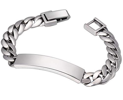 XIRENZHANG Pulsera de plata de ley S925, sencilla personalidad para hombres y mujeres, parejas, pulseras brillantes, cuerpos luminosos, joyas, 20 cm