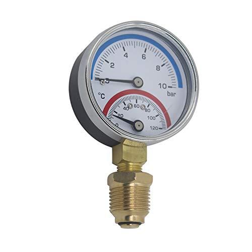 Termomanometro 63mm 80mm manometro temperatura y presion termometro caldera rosca radial 0~6 0~10 0~16 bar 1/4 1/8 pulgada (80mm 0-16bar 1/4
