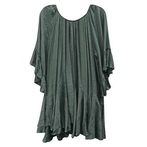 JURTEE Damen Sommer Oberteile Mode Boho Rüschen Shirts Butterfly Sleeve Unregelmäßige Einfarbig Tops Bluse(XXXXX-Large,Armee Grün)
