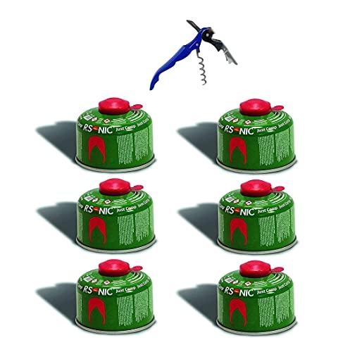 RSonic Schraubventilkartusche, Camping-Gas Butan-Propan/Ventil Gas Kartusche für Campingkocher, Gaskartusche mit Schraubventil Gewinde 100g-230g-450g (6, 100g)