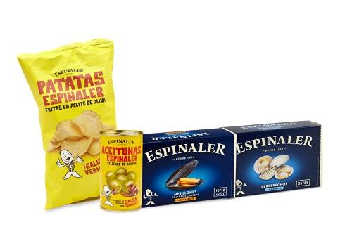 Espinaler cesta gourmet aperitivo | Pack regalo con patatas fritas, aceitunas rellenas de anchoa, berberechos y mejillones | Ideal para regalo
