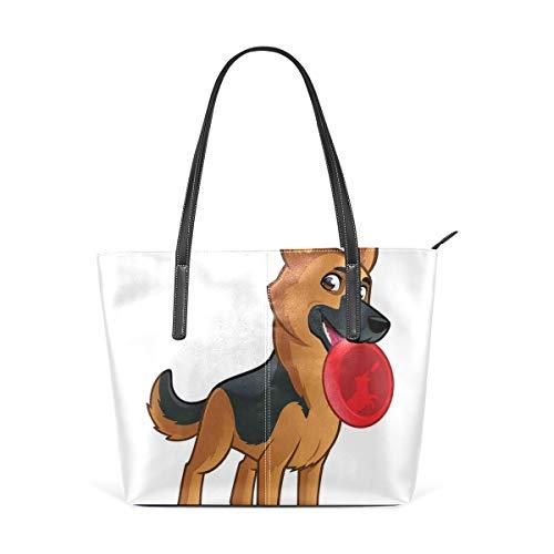NR Multicolour Fashion Damen Handtaschen Schulterbeutel Umhängetaschen Damentaschen,Freundlicher Hund der elsässischen spielerischen Zeichentrickfilm-Figur-Zusammensetzung