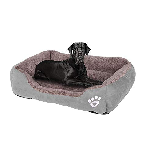 GoFirst Dog Bed Medium,Warm Soft Comfortable Pet Bed Sofa XXL 90 * 70cm for Large Medium Dogs Cats Small Pets-Grey