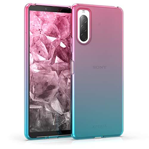 kwmobile Hülle kompatibel mit Sony Xperia 10 II - Handyhülle - Handy Hülle Zwei Farben Pink Blau Transparent