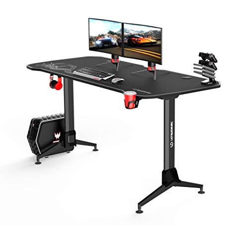 Ultradesk Grand Weiss – Sehr großer Computertisch mit Höhenverstellung, L: 160cm T: 70cm H: 70-80cm, Gaming Tisch mit Langer Platte, Schreibtisch für Gamer