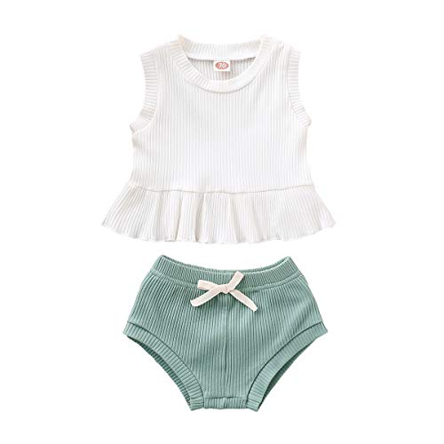24 Month Girl Clothes Toddler Girl Linen Outfits Sleeveless White Vest Tops Baby Solid Shorts 2Pcs Girl Summer Outfit Set