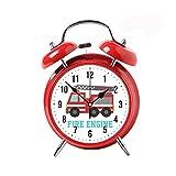 WYFC 5 Colour Alarm Clock for Bedrooms Twin Bell Silent Desk Alarm Clock Loud Kids Cute Silent Movement Alarm Clock for Kids Red Clock Cute Red Fire Truck for Boys