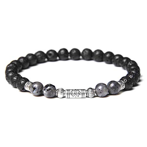 Handmade Stretch Stone Bracelets 6 Mm Black Lava Stone Beads Bracelets Men Vintage Silver Color Lotus Tube Charm Women Amulet Buddhism Prayer Essential Oil Aromatherapy Diffuser Jewelry,Labradorite,23