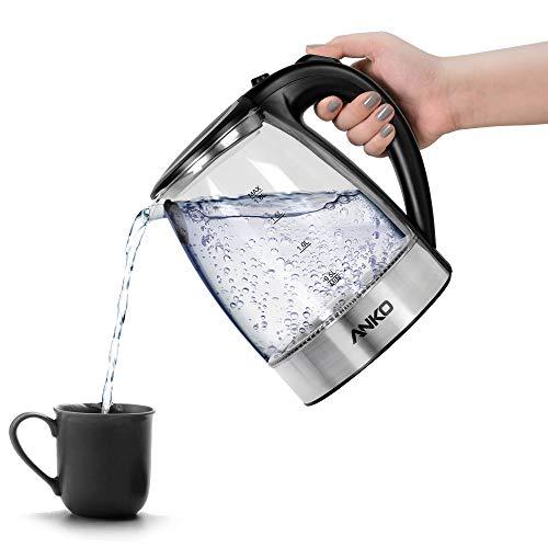 Anko Glas-Wasserkocher mit Filter, 1,8 l Fassungsvermögen mit schnellem Kochen, BPA-frei, 2200W mit 360° schnurloser Pirouettenbasis, Edelstahl-Finish, automatische Abschaltung und Überhitzungsschutz