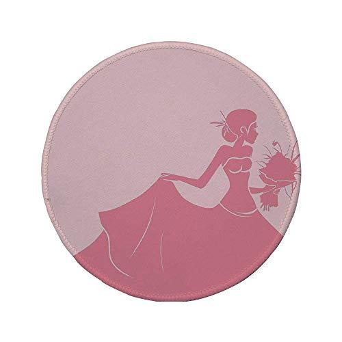 Rutschfreies Gummi-rundes Mauspad Brautduschendekorationen Braut in rosa Brautkleid mit Blumen Skizziertes Bild Lachs und Hellrosa 7.9
