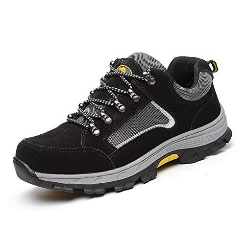 Zapatos Trabajo Construcción ,Calzado seguro laboral para hombres calzado trabajo seguridad transpirable tejido con mosca anti-rotura y anti-pinchazos calzado construcción para hombres-negro_45