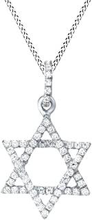 Best white gold diamond star of david pendant Reviews