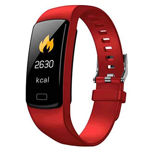 WOVELOT Banda de Rastreador de Actividad Inteligente Y9 Pulsera de Fitness Monitor de Pulso Cardíaco Pulseras de Presión Arterial para Teléfono Inteligente Banda Inteligente (Rojo)