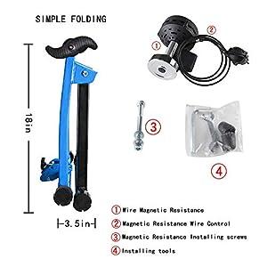 Klevsoure 26-28 Pulgadas Soporte de Rueda de Bicicleta Estación de Entrenamiento de Ejercicio de Ciclismo en Interiores Entrenador de Bicicleta Control de Alambre Soporte de Bicicleta Fitness (Azul)