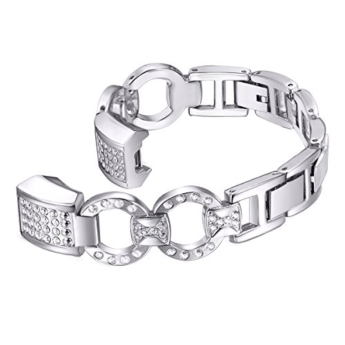 bayite Metal Bands Compatible with Fitbit Alta and Alta HR, Set with Rhinestone, Silver