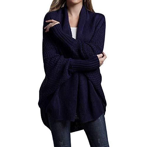 TAWXR Las mujeres Cardigan Suéter Abrigos Sueltos Manga Larga Murciélago Punto Cardigan Suéter Tops Tamaño Grande Otoño De Punto Puentes Outwears