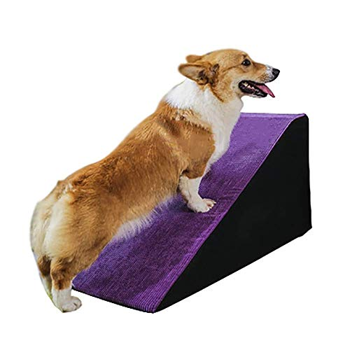 JXQ Haustiertreppe, extra breite Katzen-/Hunderampe, rutschfest, für kleine und ältere Hunde bis zum Sofa, Dunkelviolett (Größe L x Höhe 50 cm)