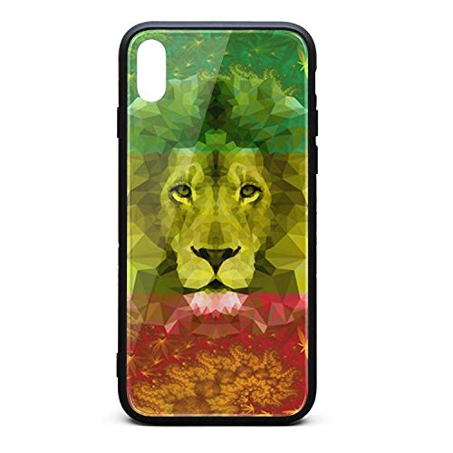 Phone Case for Mens Womens Back Cover for iPhone Xs Tempered Glass Black Anti-Scratch Rasta Lion 420 Cannabis Culture…