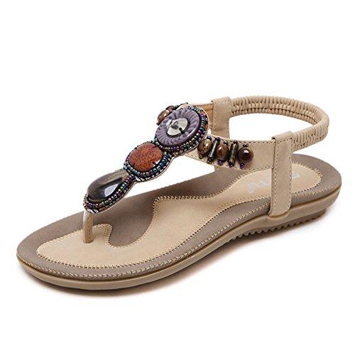 Mujer Bohemia Etnicas Planas Sandalias Retro Elegantes con Cuentas Dedo del Pie del Clip Zapatos Verano Boho Chic Zapatillas Albaricoque 39