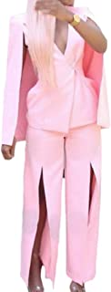 maweisong 女性分割2ピースブレザーオフィスポンチョエレガントワイド脚パンツ