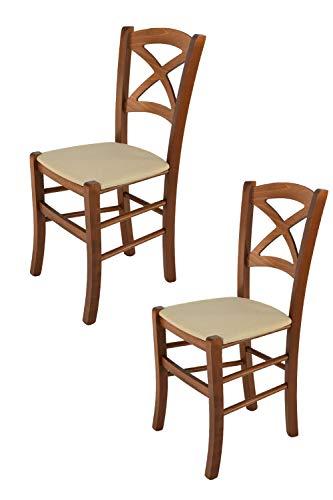 TM C S Tommychairs-Set 2 sillas clásicas Cross para Cocina, Bar y Sala de Comedor con Robusta Estructura de Madera de Haya barnizada de Nogal y con Asiento tapizado y Acolchado de Tela Color cáñamo