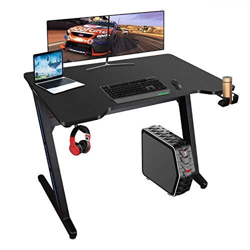 Mesa de Juegos para computadora 100x60cm Mesa Gaming Ergonómica Mesa Escritorio para PC Gaming Desk Tablas con Luces LED, Alfombrilla de ratón, Portavasos y Gancho para Auriculares