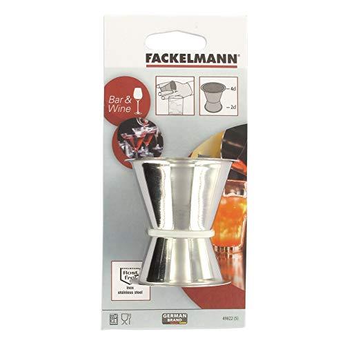 Fackelmann Cocktailmaß, Messbecher für Spirituosen, Barmaß aus Edelstahl (Farbe: Silber), Menge: 1 Stück