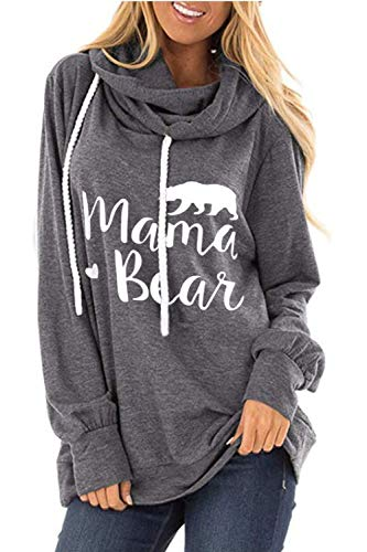 ALBIZIA Women's Long Sleeve Crew Neck Mama Bear Elbow Patch T Shirt Top (XL, Hoodie Grey)
