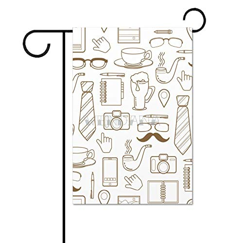 """happygoluck1y - Bandera de doble cara para el día del padre, diseño sin costuras, con texto en inglés """"Blog Objects"""", 12 x 18"""