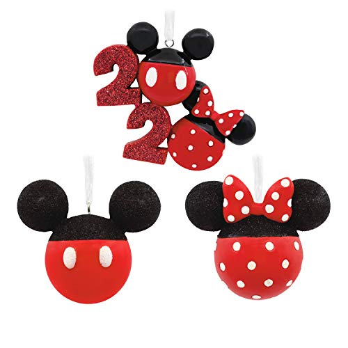 Hallmark Christmas Ornaments, Year-Dated 2020, Disney Mickey and Minnie Mouse Ears Icons, Set of 3