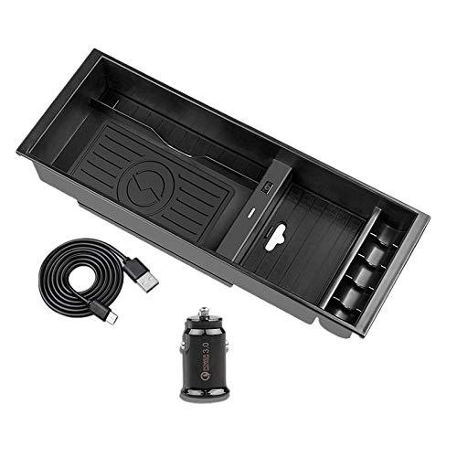 Huante Consola central organizador cargador inalámbrico 10 W Qi Bo?T de almacenamiento de carga de teléfono para F150 F-150 2015-20