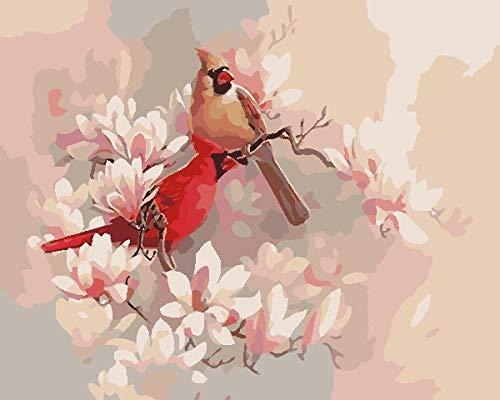BUFUXINGMA Pintar por Numeros para Adultos Niños Principiante, Pintar por Número de Kits DIY Pintura Al Óleo Regalos Decoraciones para El Hogar, Pájaros Y Flores Rosas 40 X 50 cm Marco de Made