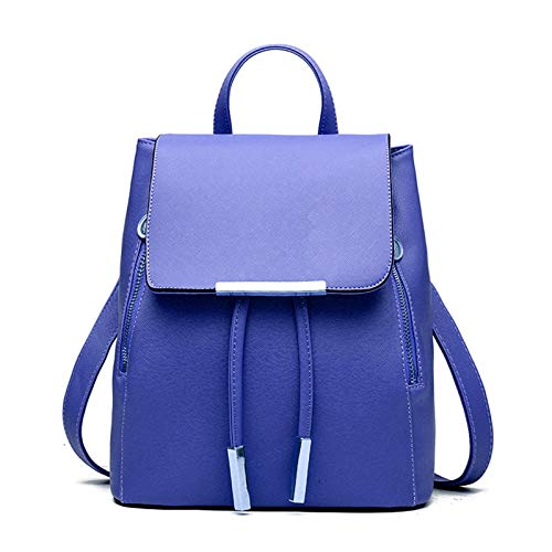 QWERT ladies backpack PU leather college casual buckle backpack fashion girl student shoulder school bag Navy blue M