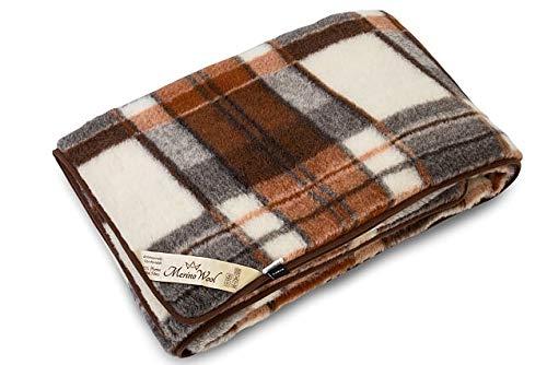 Manta de 100% Pura Lana Merina Manta 160 x 200cm Cálido y Natural Certificada por Woolmark. Muy Suave y Confortable.