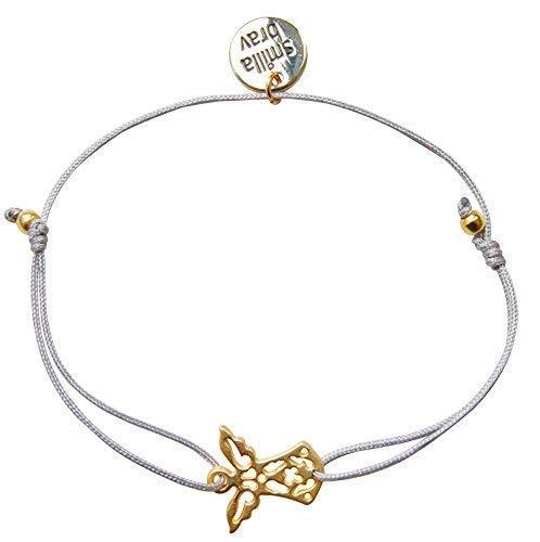 Smilla Brav® Engel-Damen-Armband Schutzengel-Freundschaftsarmband Cute Angel - hellgrau/Gold - KN01