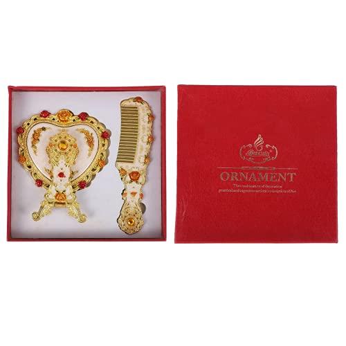 HEALLILY 1 Juego de Espejo de Mano con Peine Vintage Corazón Flor Espejo de Maquillaje Floral Cepillo de Pelo Cosmético Antiguo Herramientas de Maquillaje de Viaje para Mujeres Niñas