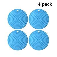 ラウンドリップルシリコーン断熱パッドの三脚ポットマットアンチやけど表スプーンボウルマットコースター柔軟な耐久性の4点セットラック (Color : Blue)